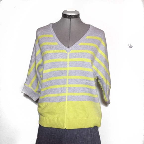 1333a6276dc NEW jcp Yellow Gray Stripe Spring V Neck Sweater M